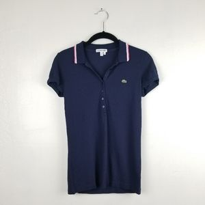 Lacoste Blue Cap Sleeve Slim Fit Polo